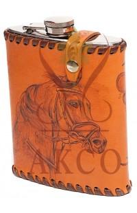 Походная фляга в натуральной коже Лошади, 502FKL