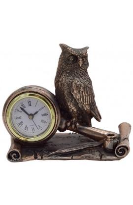Часы настольные под бронзу Сова