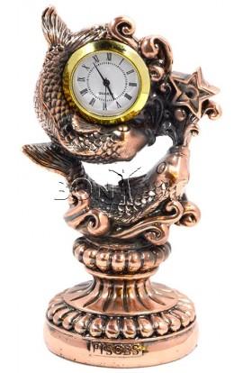 Часы декоративные под бронзу Знак зодиака Рыбы 16см, 76T1130