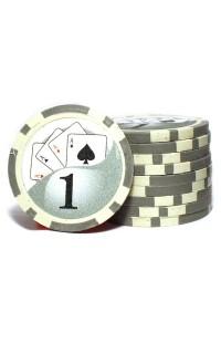 Набор фишек для покера номинал 1 двухцветный пластик высокого качества 39мм 115гр 50шт
