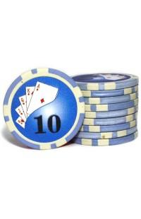 Набор фишек для покера номинал 10 двухцветный пластик высокого качества 39мм 115гр 50шт