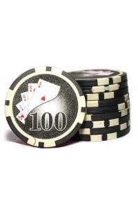 Набор фишек для покера номинал 100 двухцветный пластик высокого качества 39мм 115гр 50шт