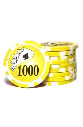 Набор фишек для покера номинал 1000 двухцветный пластик высокого качества 39мм 115гр 50шт, CHIP1000