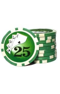 Набор фишек для покера номинал 25 двухцветный пластик высокого качества 39мм 115гр 50шт