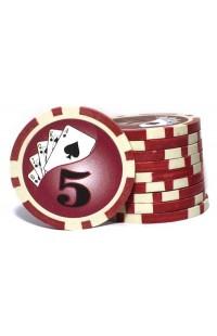 Набор фишек для покера номинал 5 двухцветный пластик высокого качества 39мм 115гр 50шт