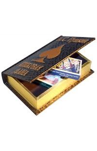 Шкатулка в виде книги Пушкин Пиковая дама с 2 колодами карт