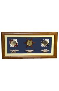 Коллаж оригинальный с часами, термометром и гигрометром Морская романтика, JM2006