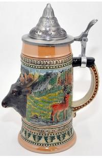 Пивная кружка керамическая коллекционная охотничья Олень.