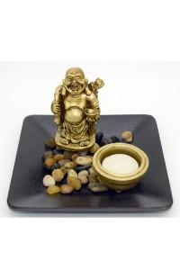 Декоративная композиция с речным камнем и свечой Хотей, L156017