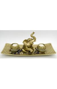 Декоративная композиция с речным камнем и 2 свечами Слон, L156120