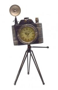 Декоративная композиция Старинный фотоаппарат на штативе и с часами высота 50 см, PHOTO50