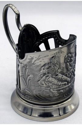 Подстаканник никелированный ретро стиль На охоте, PN_002