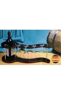 Набор винный настольный держатель для винной бутылки и четырех фужеров, SS07266