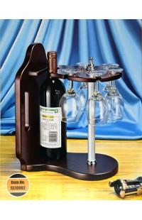 Набор винный настольный держатель для винной бутылки и пяти фужеров, SS10002