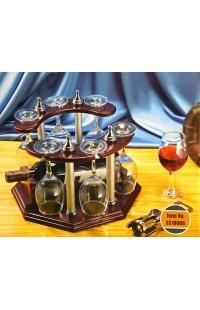 Набор винный настольный держатель для винной бутылки и шести фужеров, SS10006