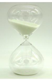Часы песочные в виде стеклянной колбы интервал 10 минут высота 14 см, STB14WHITE
