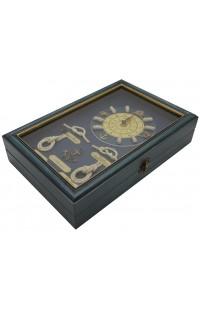 Ключница деревянная с часами и латунью Такелаж, SY132030C