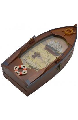 Ключница деревянная с латунью Лодка, SY132049A