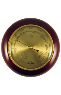 Деревянный круглый барометр с термометром и гигрометром, YG302