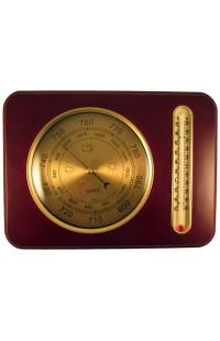 Деревянный прямоугольный барометр с термометром, YG311