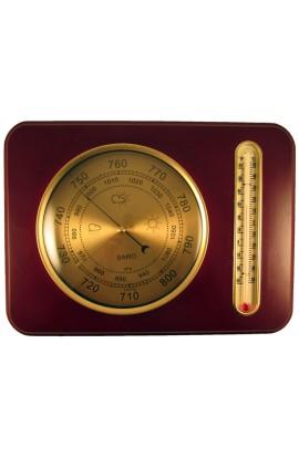 Деревянный прямоугольный барометр с термометром.