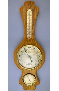 Метеостанция деревянная с барометром гигрометром и жидкостным 48см, YG369H