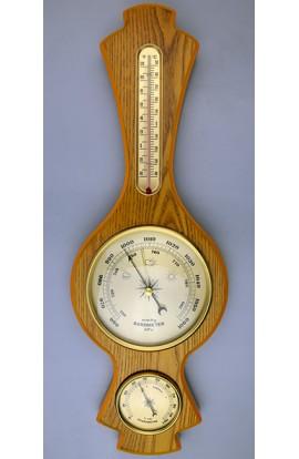 Метеостанция деревянная с барометром гигрометром и жидкостным 48см